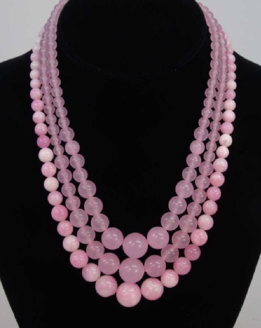 3 Carved Pink Jade & Rose Quartz Necklace Strands