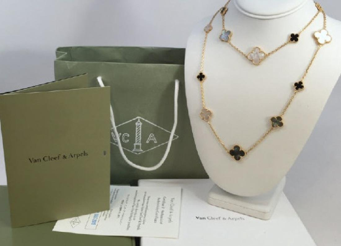 "Van Cleef & Arpels 18kt Alhambra Necklace 36"""