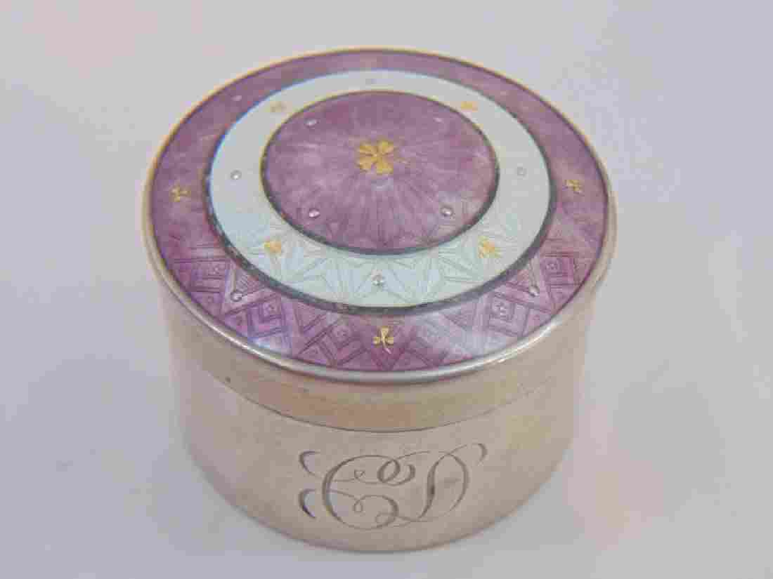 Antique 19th C Gold Sterling Guilloche Enamel Box