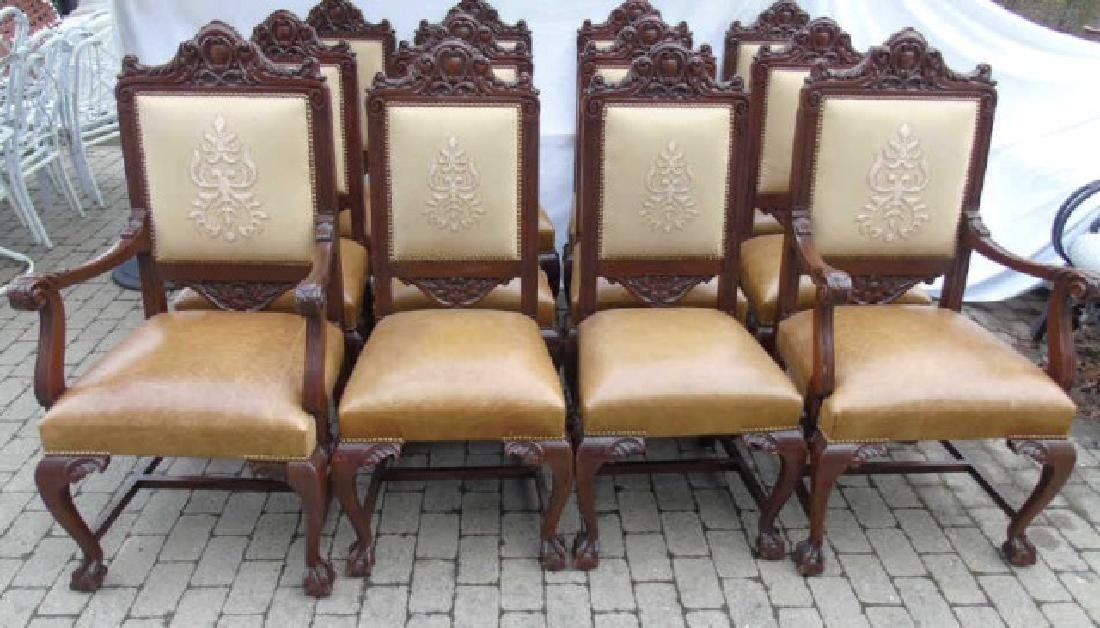 Set 12 Ornately Carved Italian Dining Room Chairs