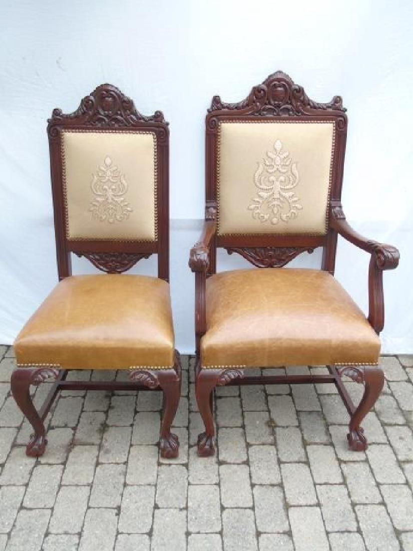 Set 12 Ornately Carved Italian Dining Room Chairs - 4