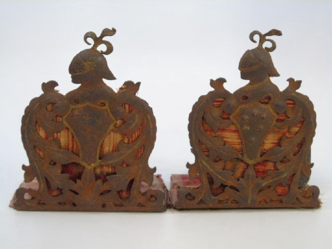 Antique 19th C Armorial Knight in Armor Bookends