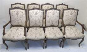 Set of 8 Country French Upholstered Dining Chairs