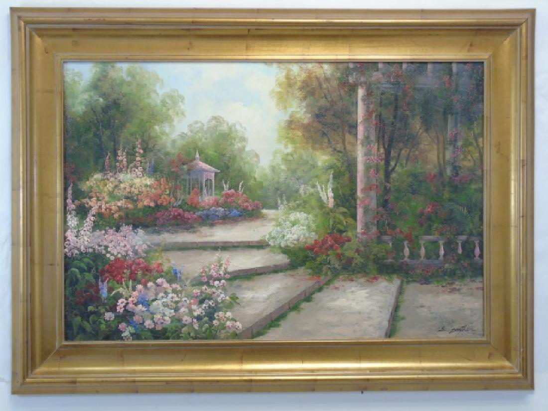 E. Panthier Signed Oil on Canvas w Garden Gazebo