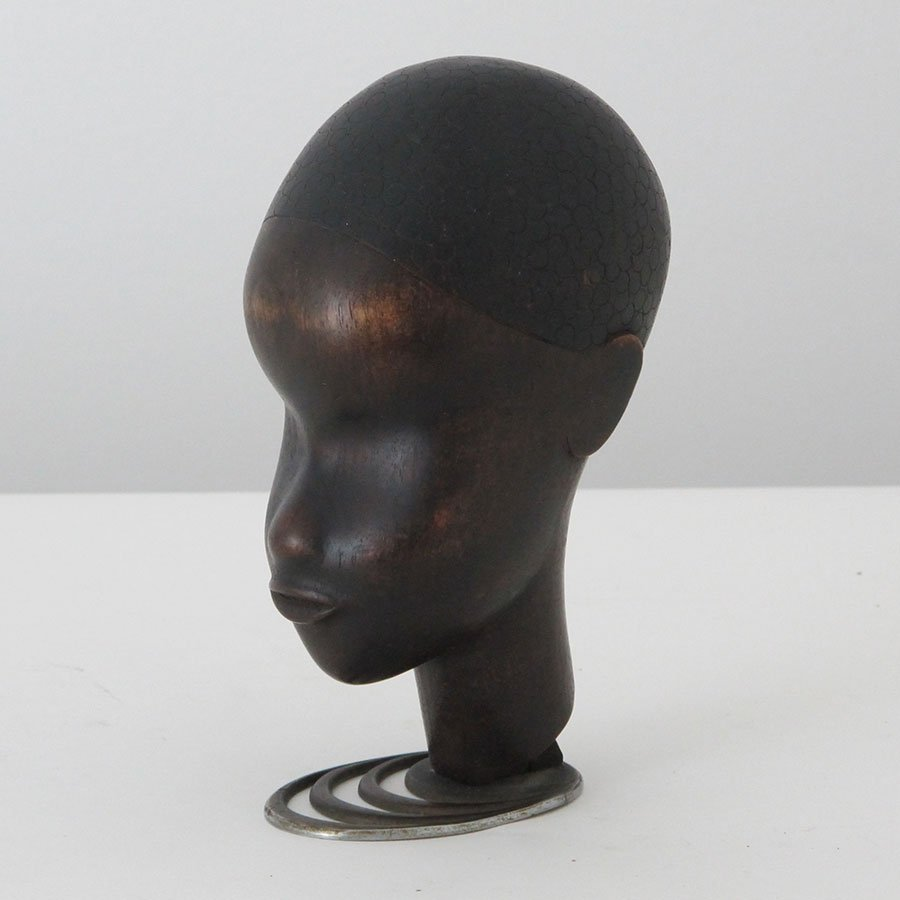 Hagenauer Carved Wood Head w/Metal Stand