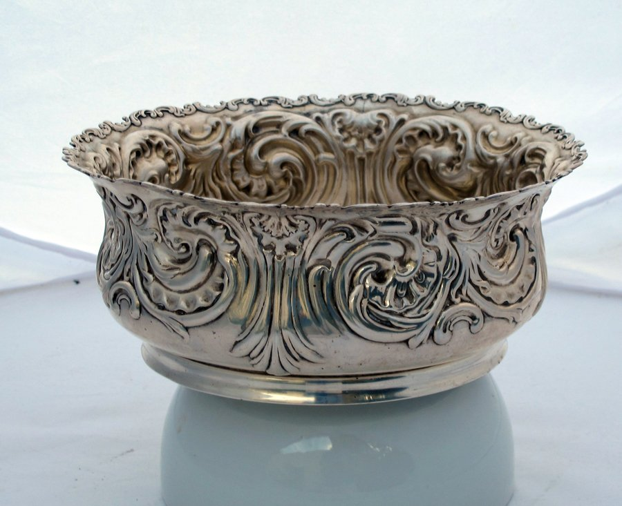 Whiting Sterling Silver Large Embossed Bowl