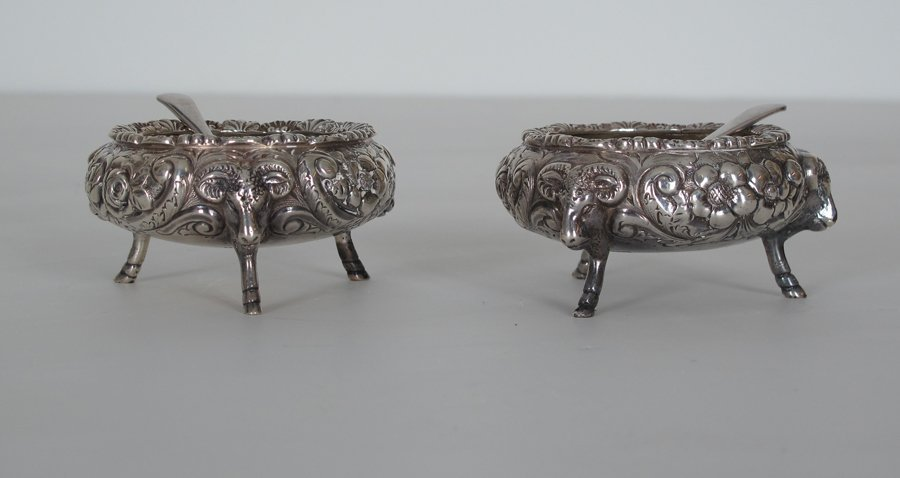 Pair Repousse Sterling Silver Salts with Salt spoons