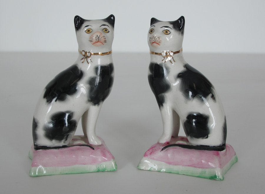 Pair Antique Staffordshire Cats