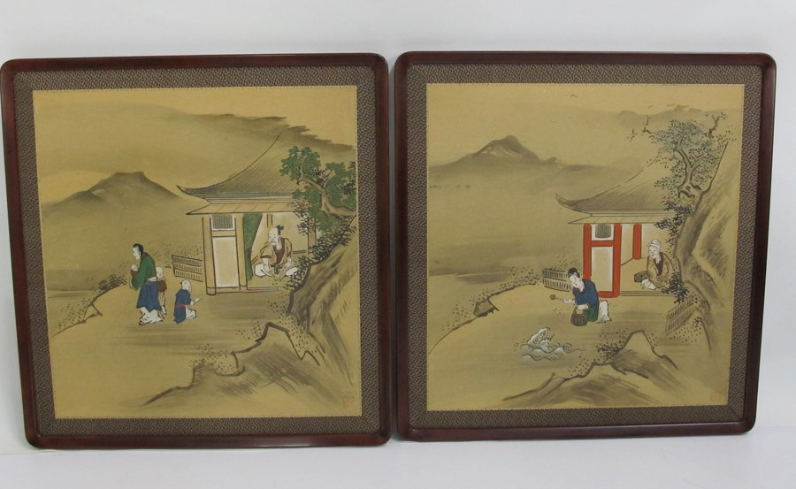 Pair of Signed Chinese Figural Scenic Wall Hangings