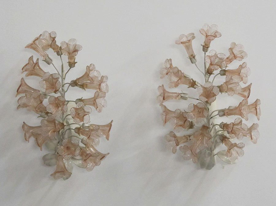 Murano Pink Flower Sconces
