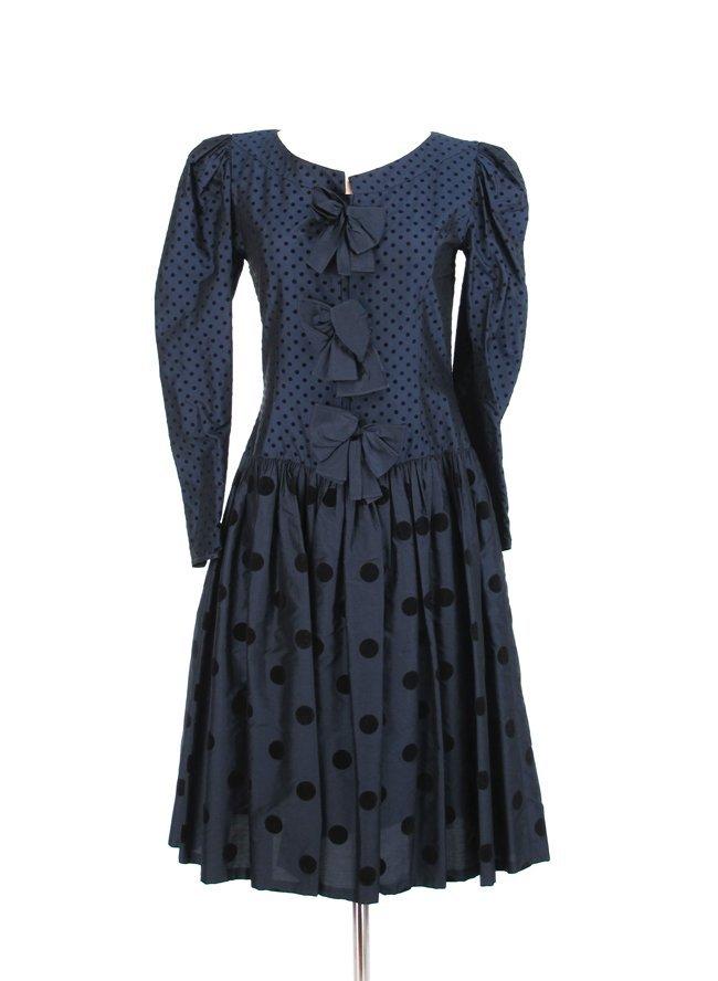 Louis Feraud Polka Dot Silk Cocktail Dress
