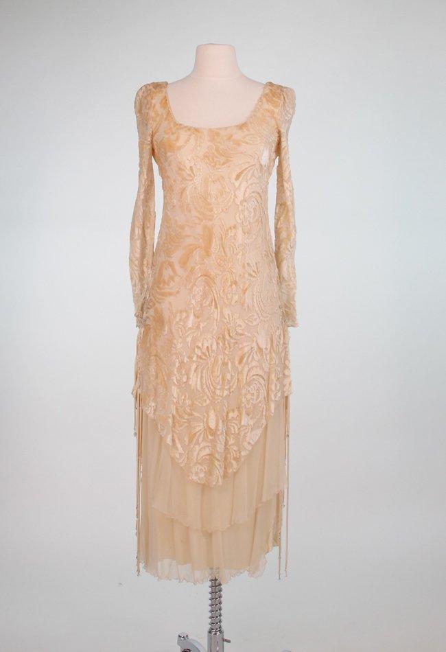 Mira de Moss Ivory Cut Silk Velvet Dress