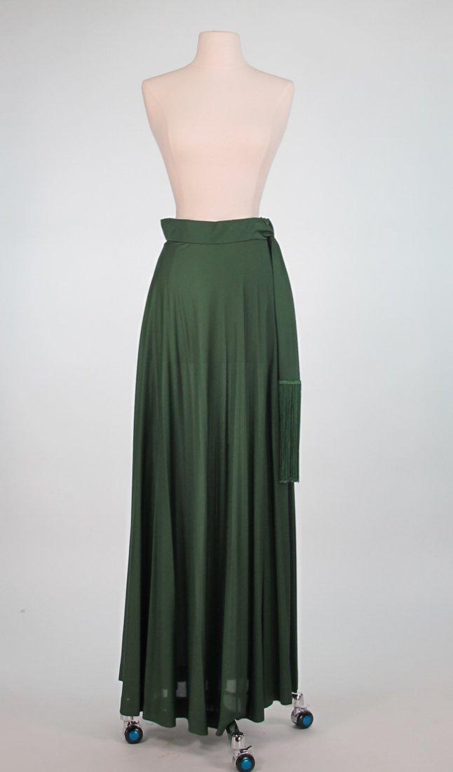 Pucci Green Silk Jersey Maxi Skirt