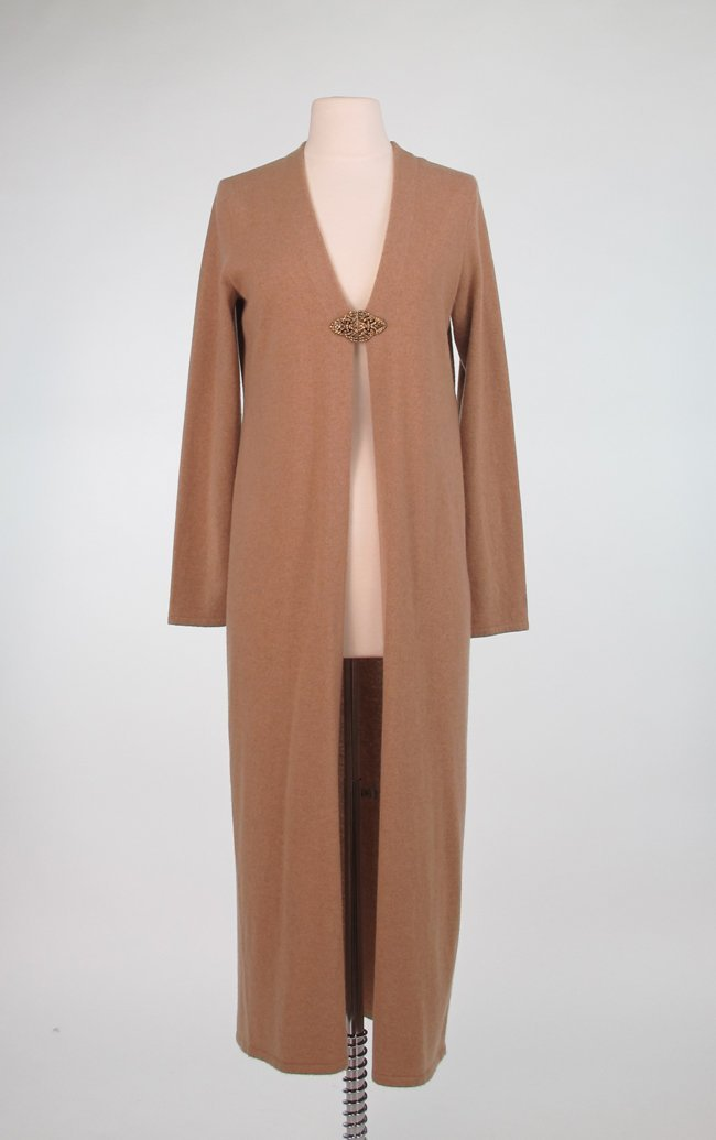 Tan Cashmere Open Front Coat with Clasp Front Closure