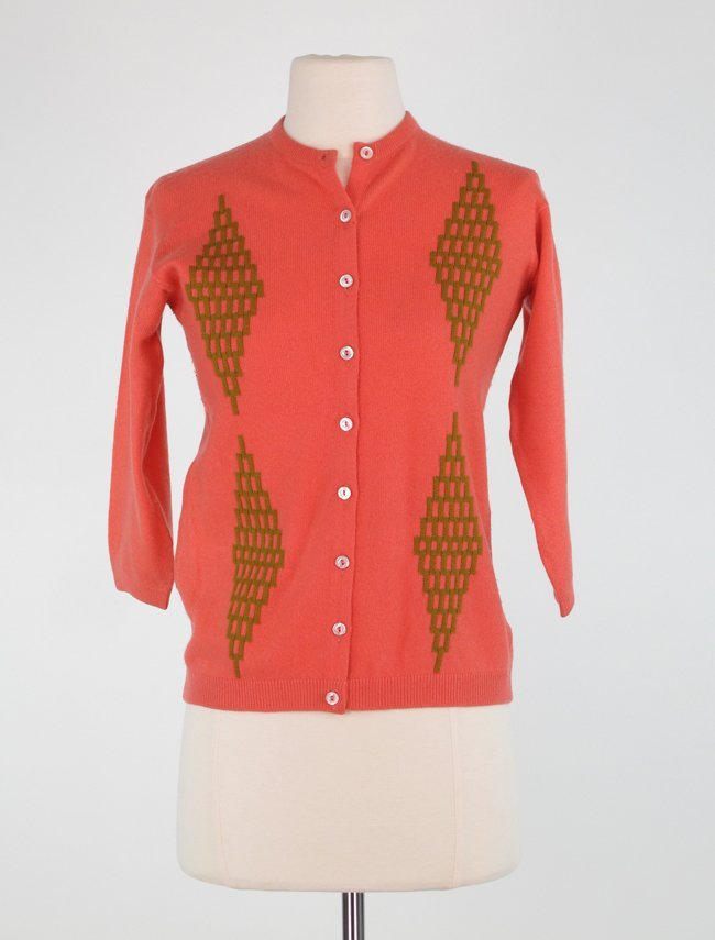 1950s Coral Cashmere Cardigan Sweater with Gold Diamon