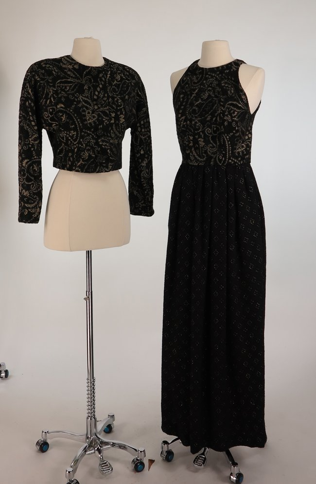 Carolyne Roehm Two Piece Brocade and Black Satin