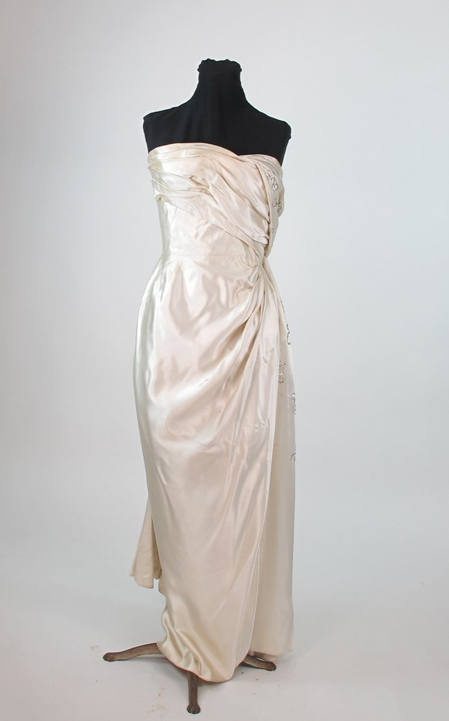Maggy Rouff Ivory Slipper Satin Strapless Evening Gown