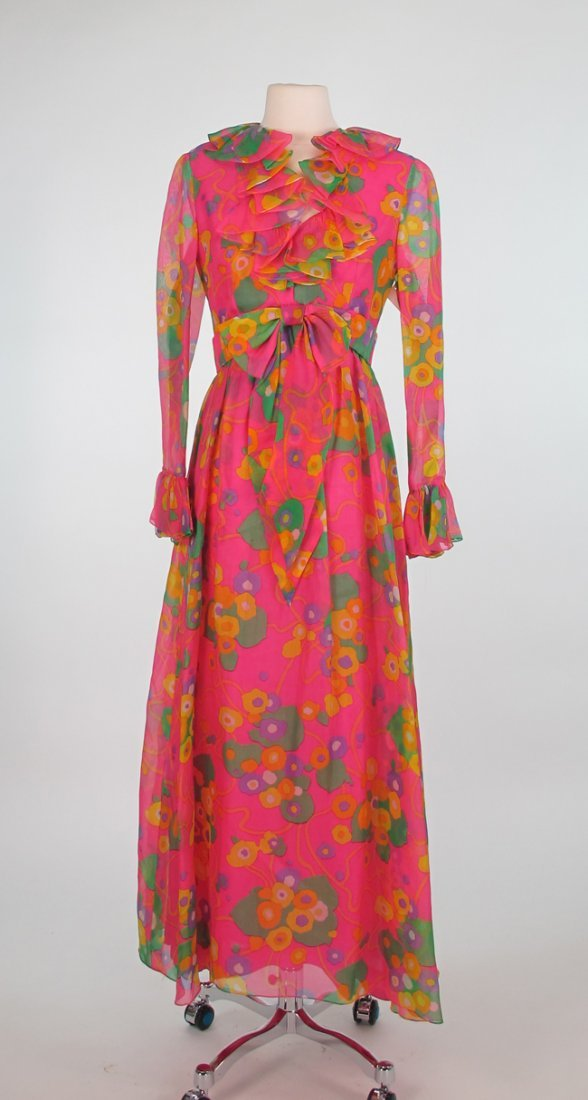 Mollie Parnis Boutque Floral Silk Organza Maxi Dress