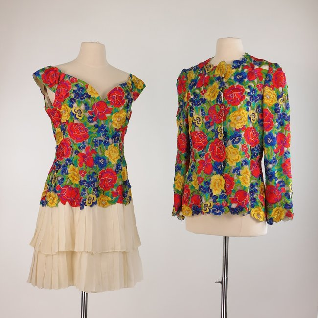 Arnold Scaasi Two Piece Colorful Open Work Lace Dress