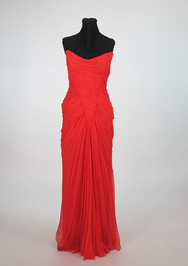 Maggy Rouff Coral Silk Jersey Evening Gown