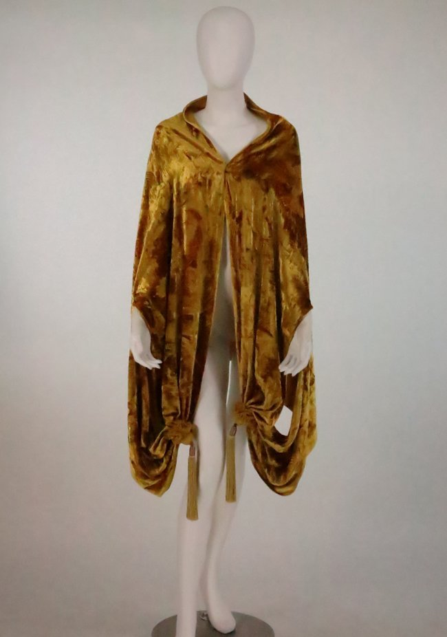 Venetia Studium Stenciled Gold Silk Velvet Cape Shawl