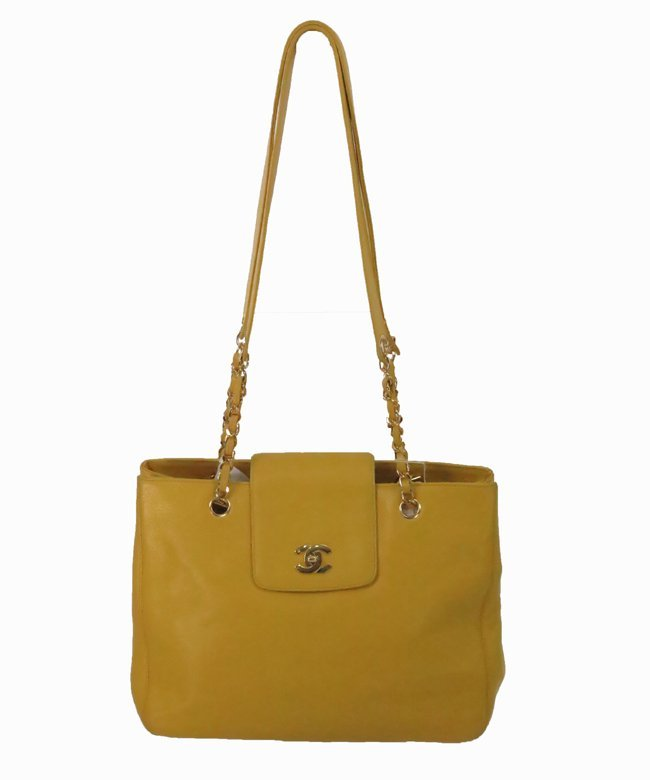 Chanel Large double handle caviar leather tote handbag