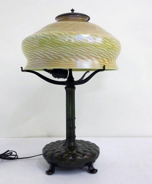 Signed Tiffany Studios Lamp with Damascene shade