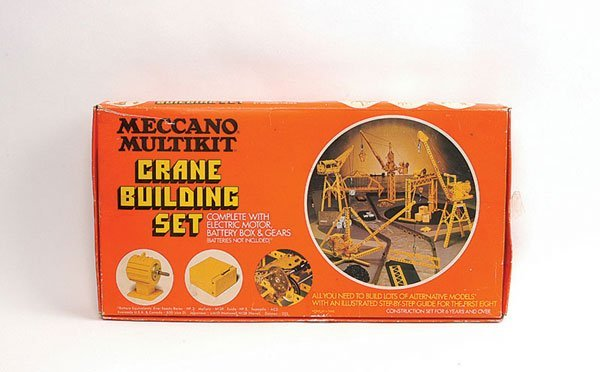 3002: Meccano Multi Kit Crane Building Set in yellow.