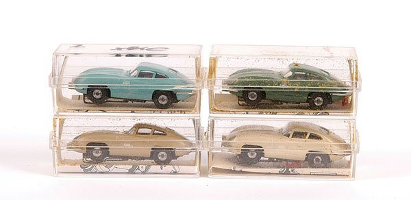 2009: Aurora HO Slot Cars, 4 x No.1358 Jaguar E-type
