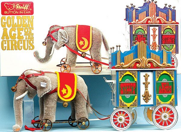 15: Steiff Circus Series Elephant with Lead Wagon