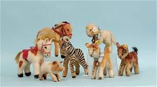 471: Steiff seven miniature animals: (1) Esel Donkey
