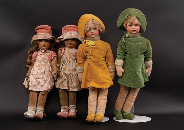 9: Four cloth Dolls including Chad Valley