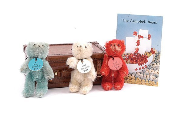194: Set of Three Red, White and Blue Campbell Bears