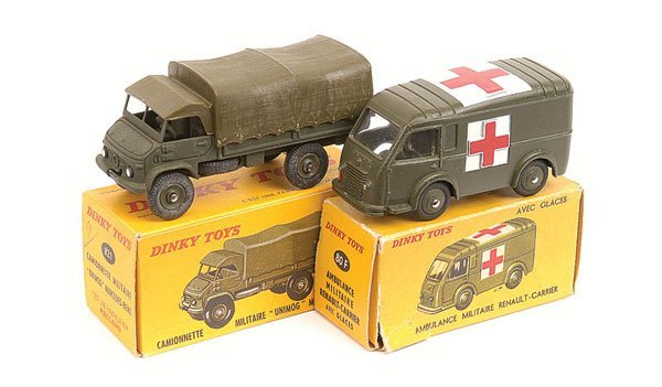 13: French Dinky Military Truck and Ambulance
