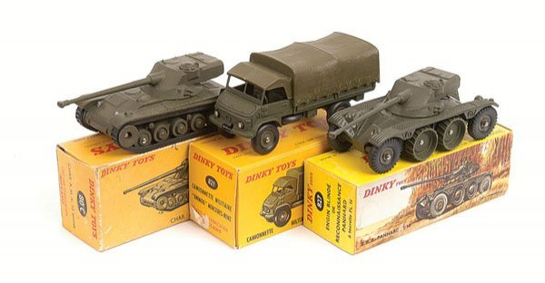 16: French Dinky Military Truck and Tanks