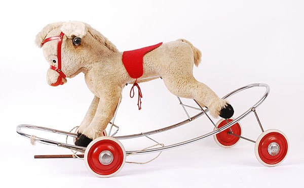 3005: Artificial Plush Pull-along Donkey on Wheels