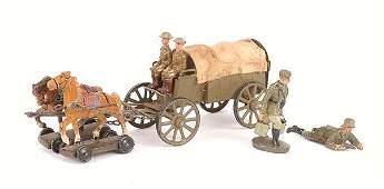 4175 Elastolin LineolWWI American Supply Wagon