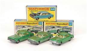 1208: Matchbox Superfast - 3 x No.53 Ford Zodiac