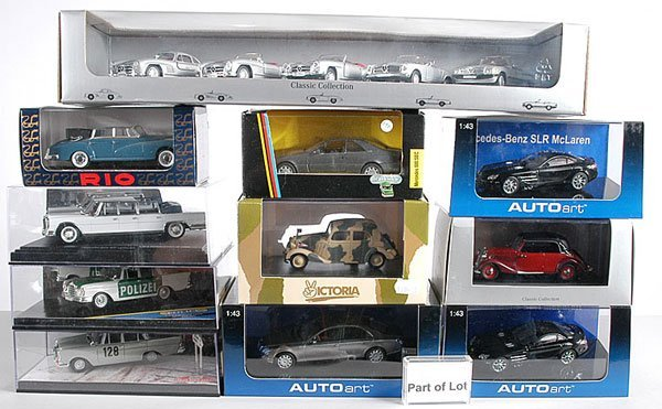 1: Autoart, Bang, Rio - A Group of Mercedes Cars
