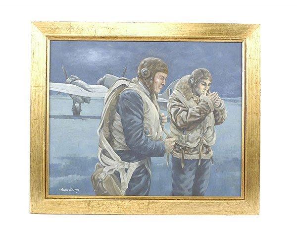 "3001: Alan Kemp-Oil Painting ""Night Fighters""-RAF-1942"