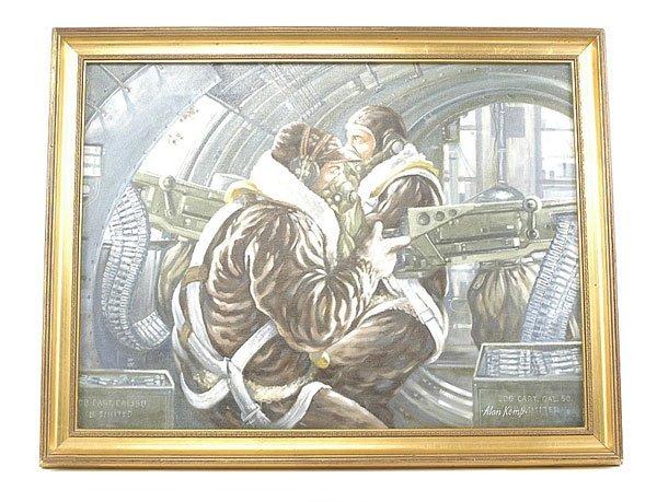 3002: Alan Kemp-Oil Painting-B17 Waist Gunners-1944