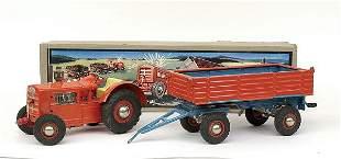 Gama No.1804 wind-up clockwork Tractor & Trailer