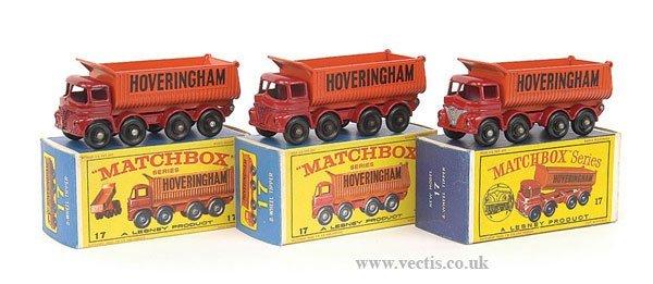 """1015: Matchbox No.17d Foden """"Hoveringham"""" Tipper x 3"""