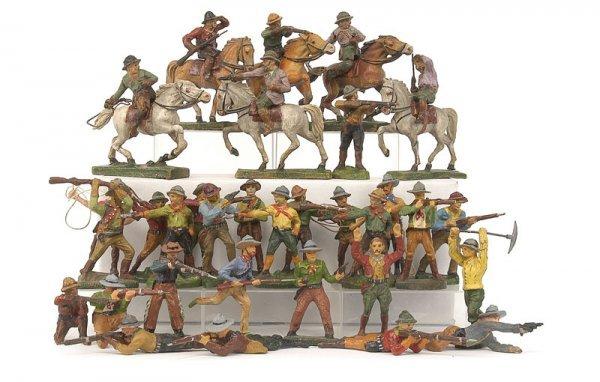 2337: Elastolin,Lineol & similar-Wild West-7cm Cowboys