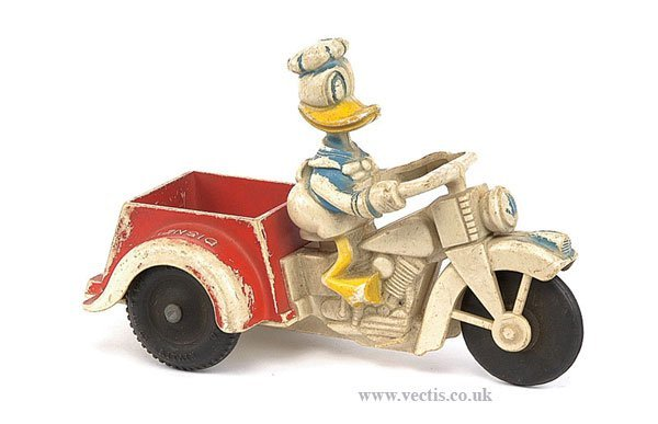 733: Louis Marx Donald Duck Harley Davidson Tricycle