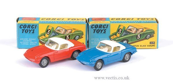2278: Corgi No.319 Lotus Elan Coupe x 2