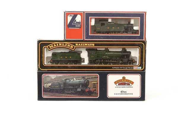 1017: OO Gauge - 3 x GWR Green Steam Locos