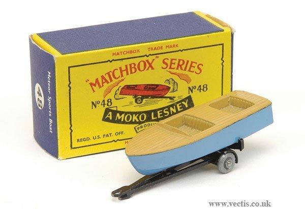 1022: Matchbox No.48a Meteor Sportsboat on Trailer
