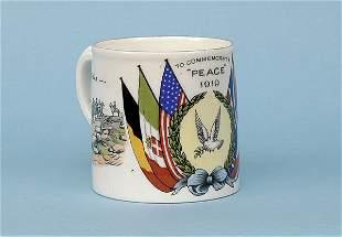 Transfer printed china mug [dia 2.5 ins] ca 1919