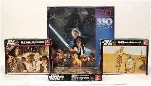 A small mixed group of Star Wars jigsaw puzzles